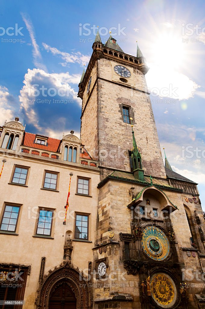 Astronomical Clock landmark in Prague, Czech Republic stock photo