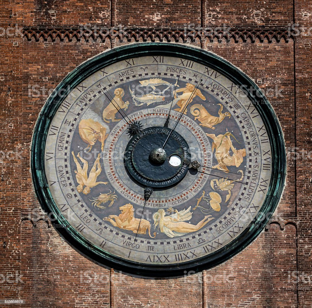 Astronomical clock on the Torrazzo tower, Cremona, Italy stock photo
