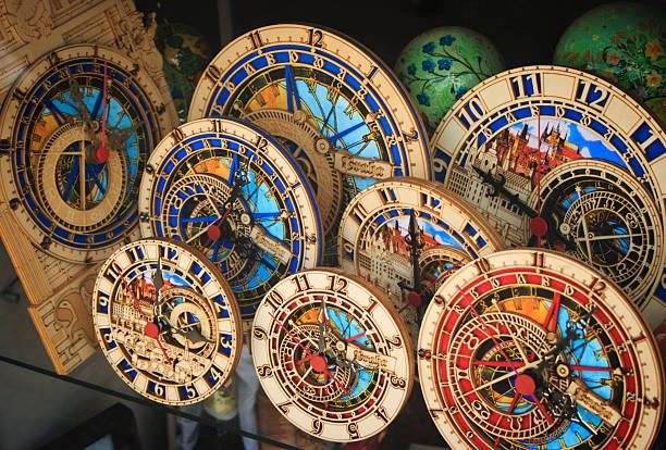 Astronomical Clock Souvenirs Astronomical Clock Souvenirs on display windows. astronomical clock stock pictures, royalty-free photos & images