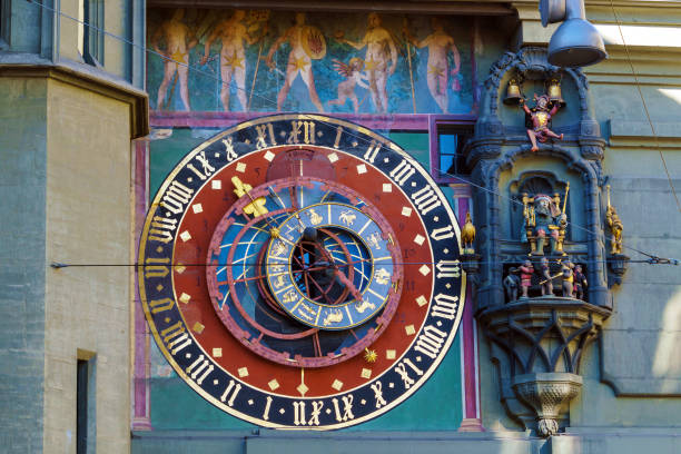 Astronomical dial of the Zytglogge, medieval clock tower, Bern, Switzerland stock photo