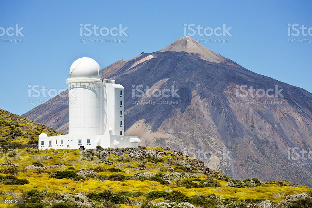 Astronomical observatory and Teide mountain stock photo