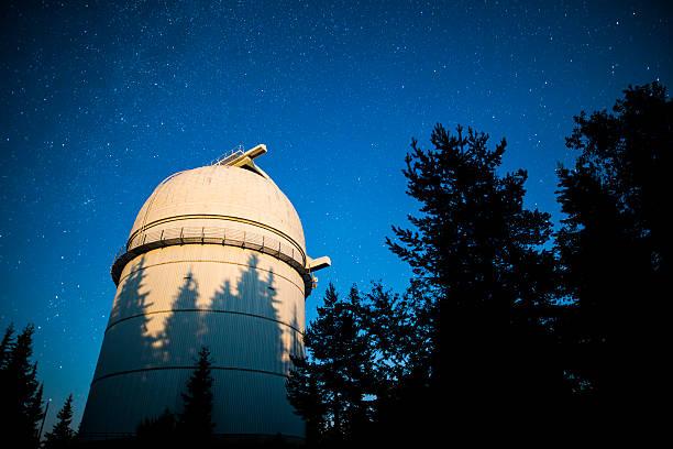 astronomical observatory under the night sky stars. vignette - hohe warte stock-fotos und bilder