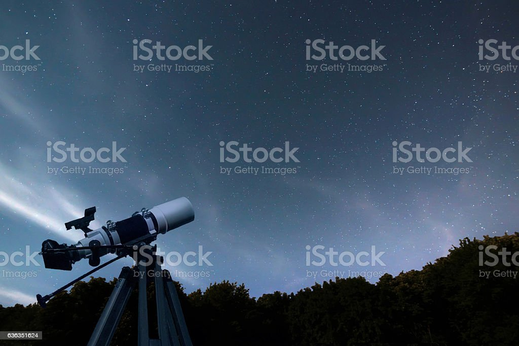Astronomical Telescope night sky constellation Ursa Major, Ursa Minor stock photo