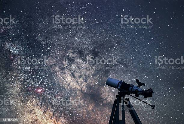 Photo of Astronomical Telescope  Starry night. Milky Way Galaxy.