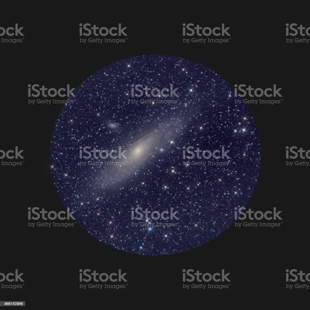 Astronomy space image: telescopic view at the Great Nebula in tne Andromeda constellation with surrounding stars. stock photo