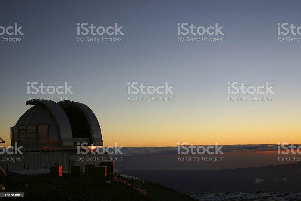 Astronomy space telescope at sunset, Hawaii stock photo