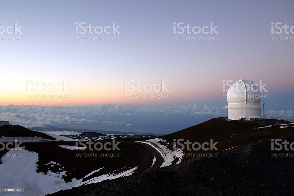 Astronomy space telescope at sunset Hawaii stock photo