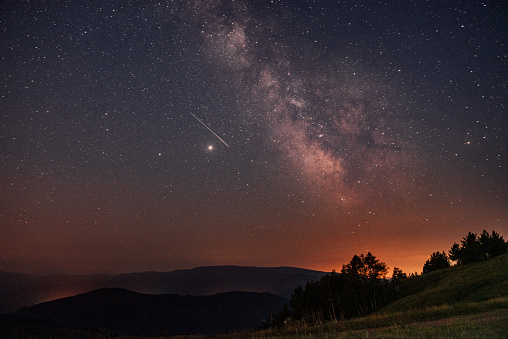 Astrophotography Meteor Shower With Milky Way Galaxy And Stars Stock Photo - Download Image Now
