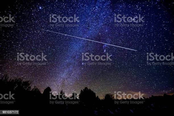 Photo of Astrophotography Meteor Shower with Milky Way Galaxy and Stars