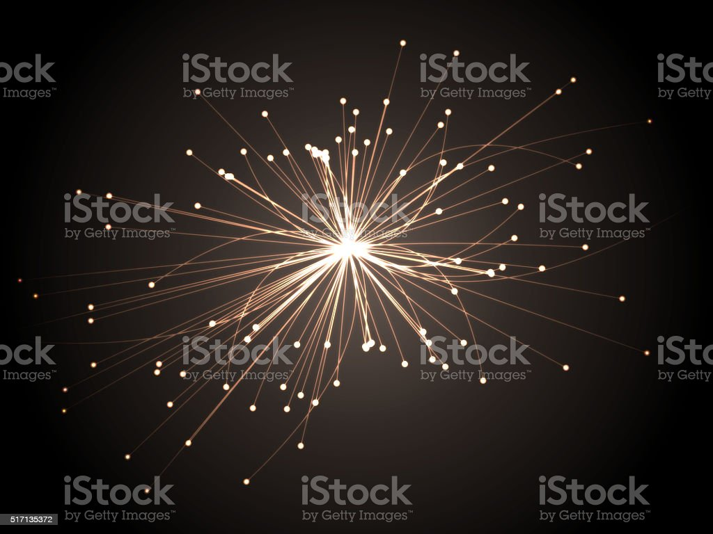 Astrophysics concept. Scientific research. Particles collision. stock photo