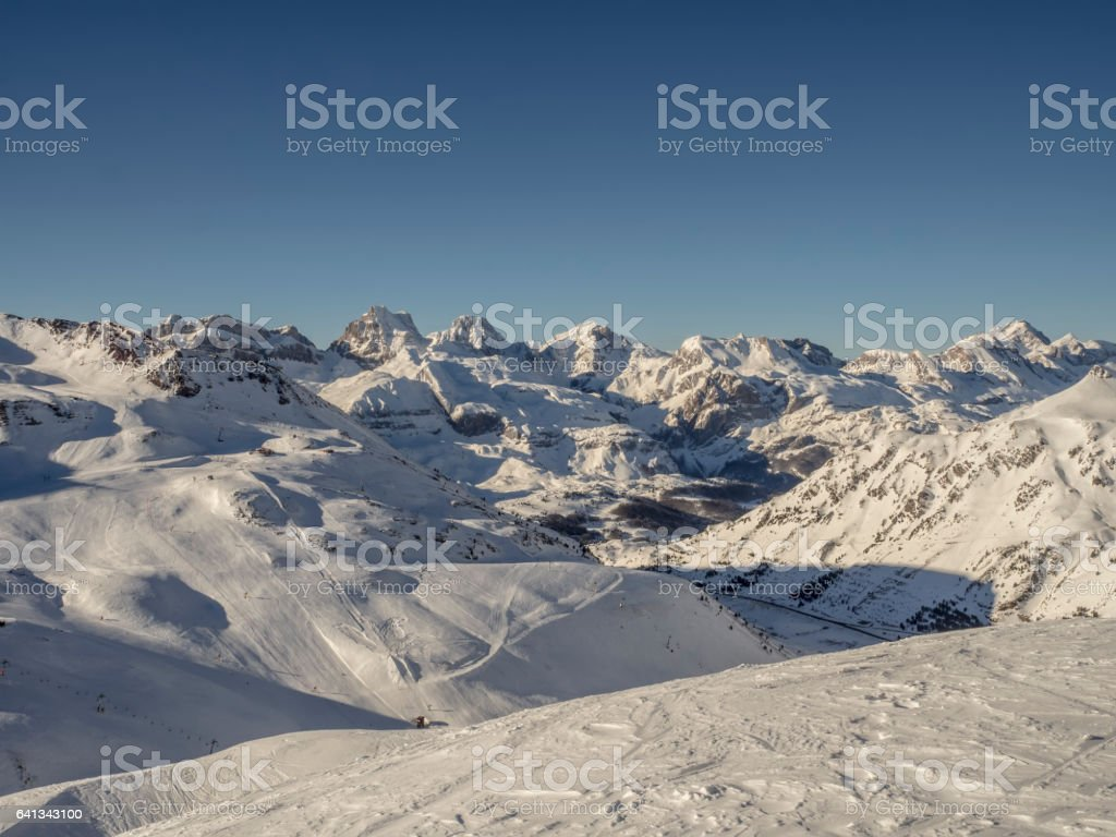 Astun ski resort views stock photo