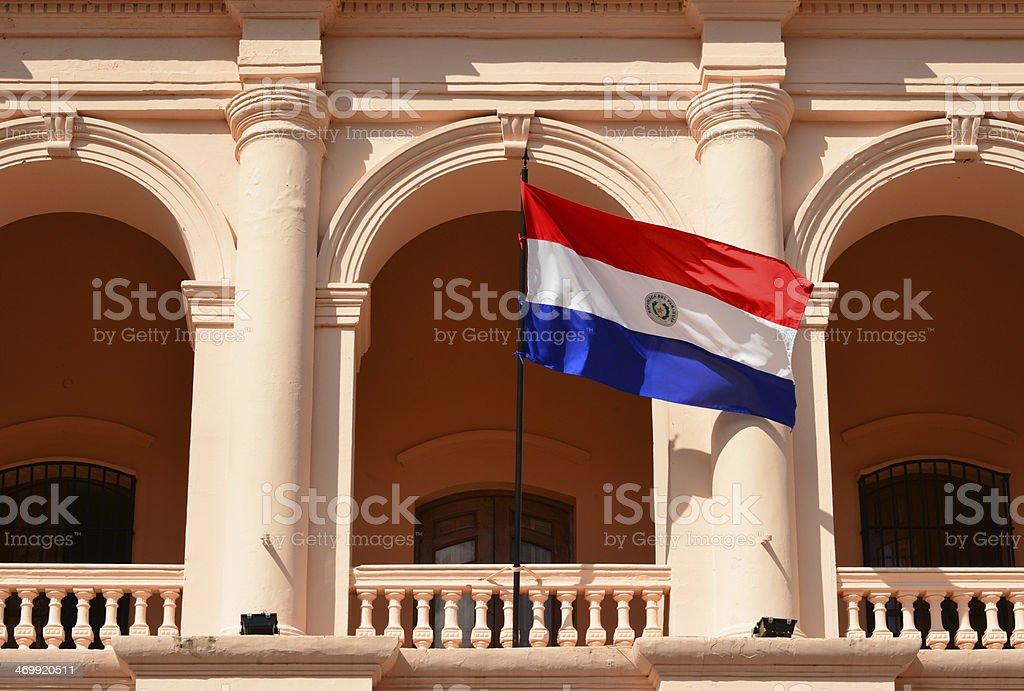 Asunción, Paraguay: flag of Paraguay at the Cabildo stock photo