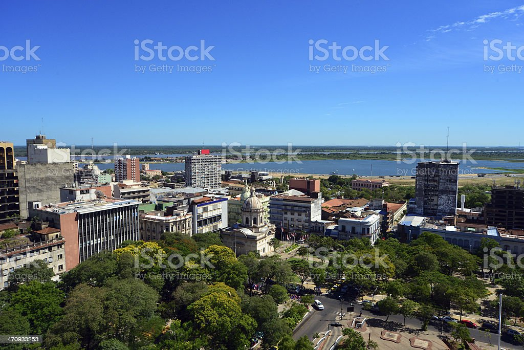 Asunción, Paraguay: skyline with the river and the bay stock photo