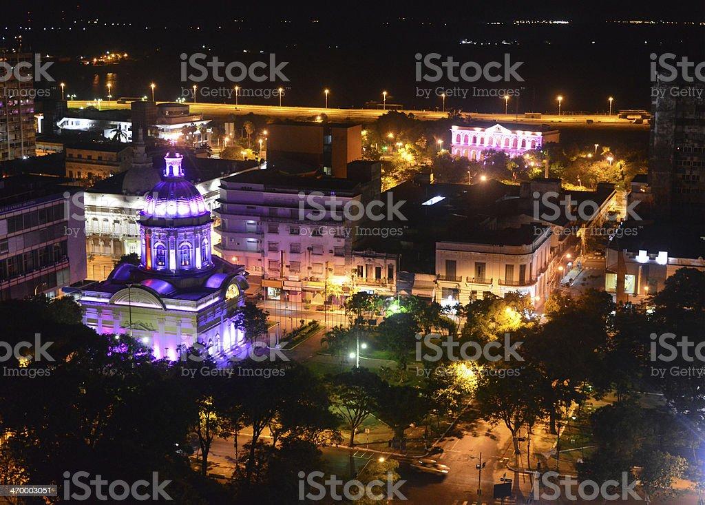 Asuncion, Paraguay: at night stock photo