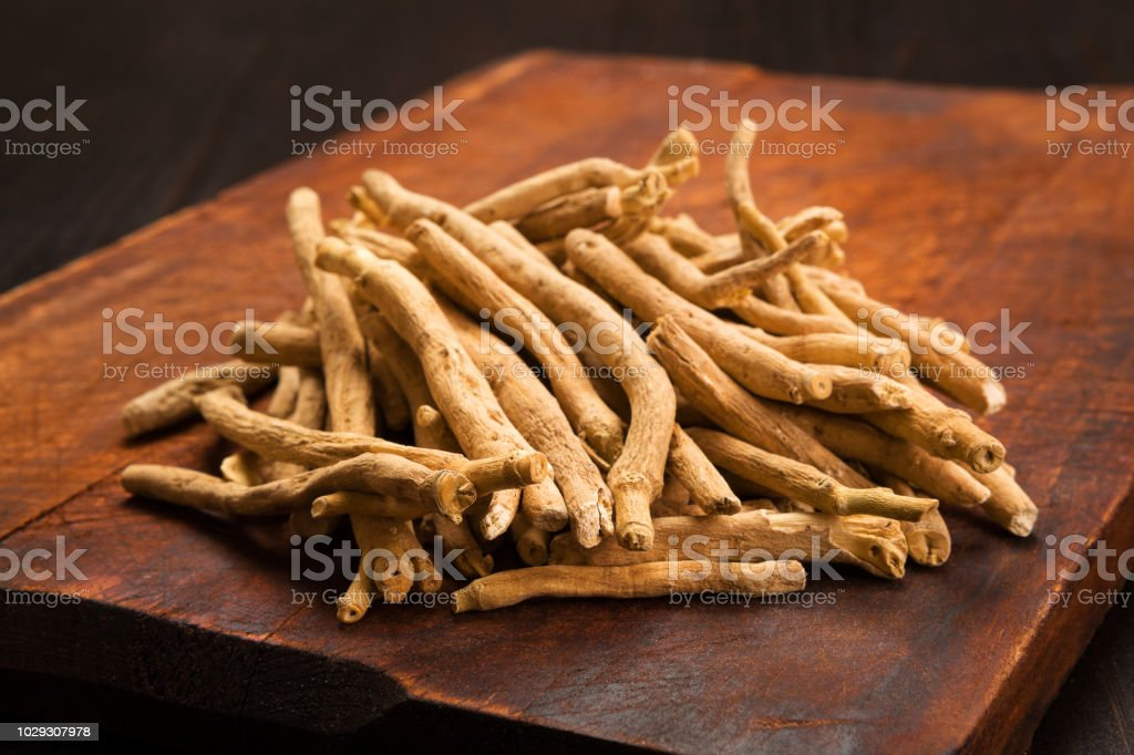 Aswagandha root, herbal medicine. stock photo