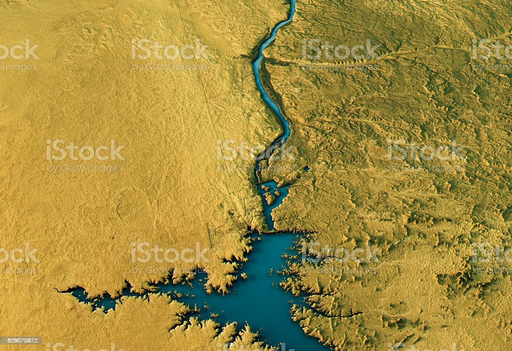 Aswan Dam 3D Landscape View South-North Natural Color stock photo