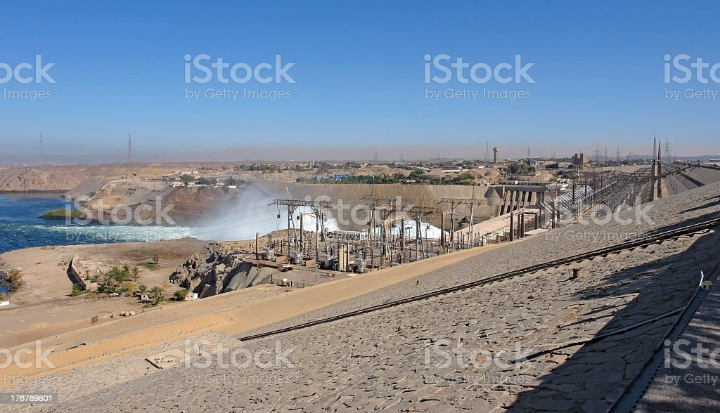 Aswan Dam in Egypt at evening time stock photo