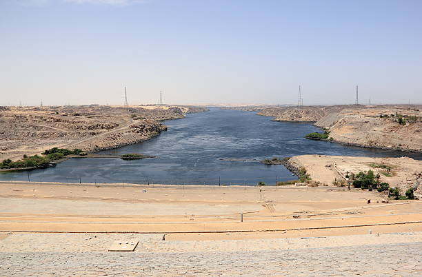 Aswan Dam. The High Dam. Aswan, Egypt. stock photo
