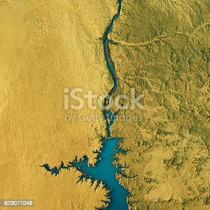 3D Render of a Topographic Map of the Aswan Dam, Egypt.