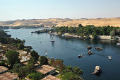 The river Nile and Kitchener's Island at AswanEgypt