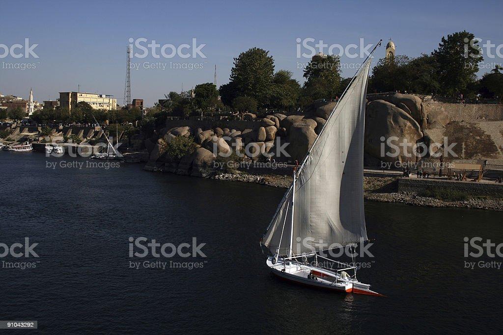 Aswan (Egypt) - White sailing boat landscape royalty-free stock photo
