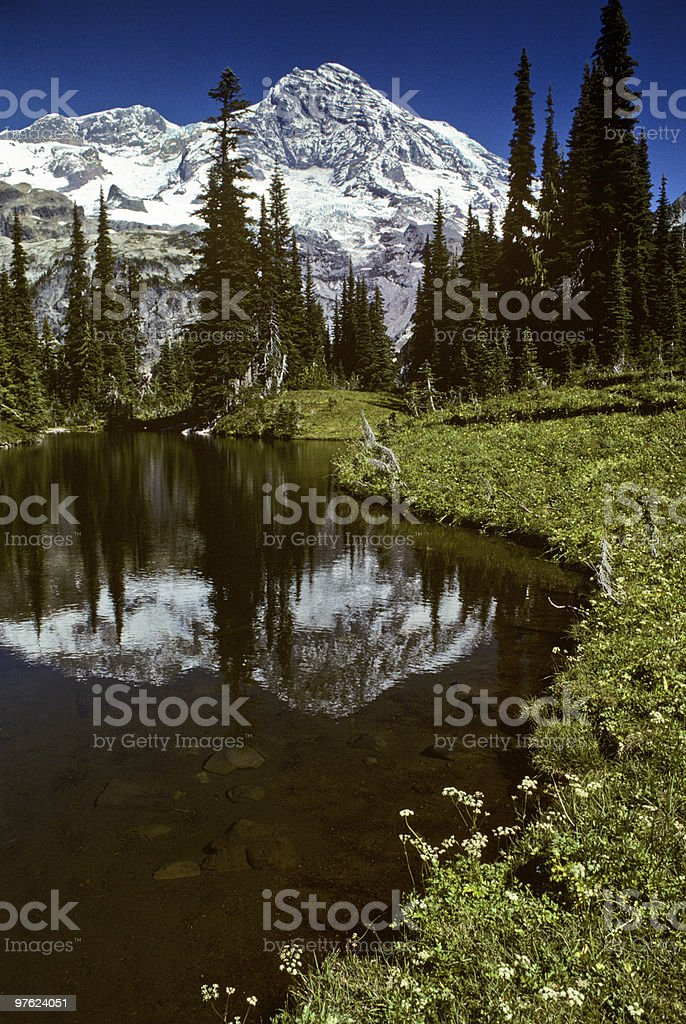 Mirror Lake and Mount Rainier royalty-free stock photo