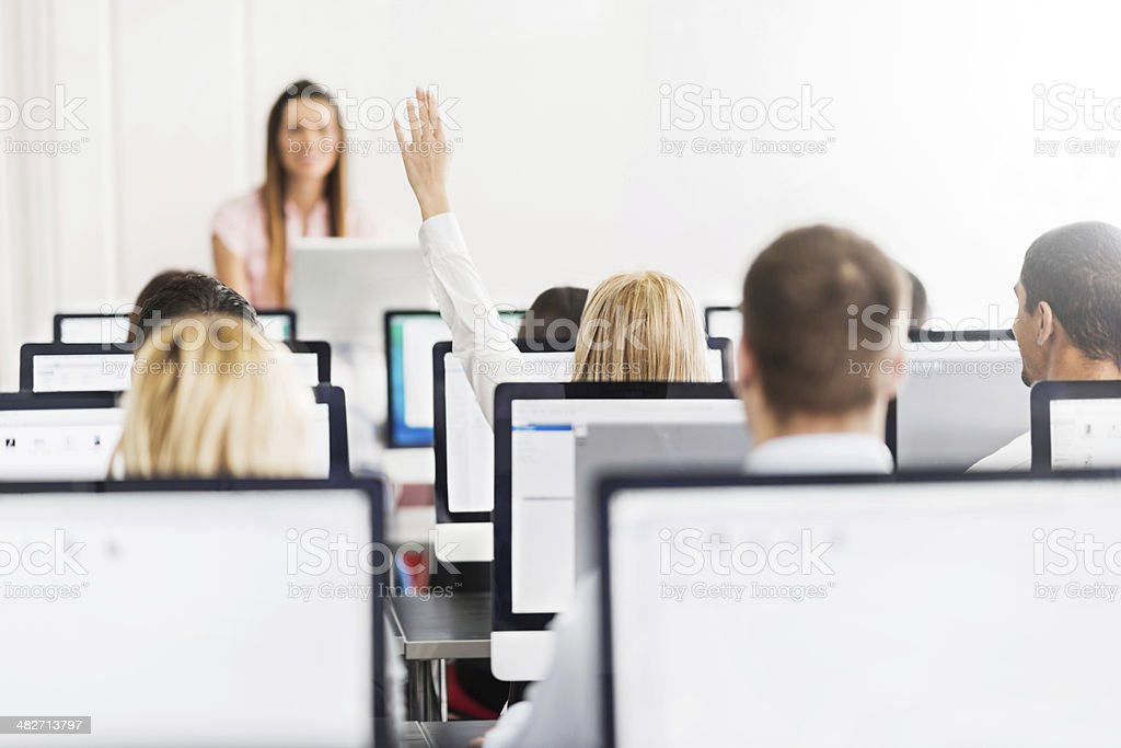 At a computer class. stock photo