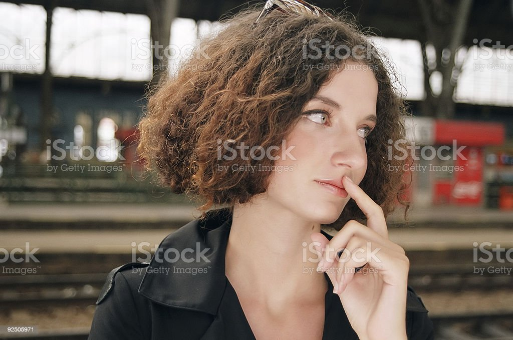 At a railway station royalty-free stock photo