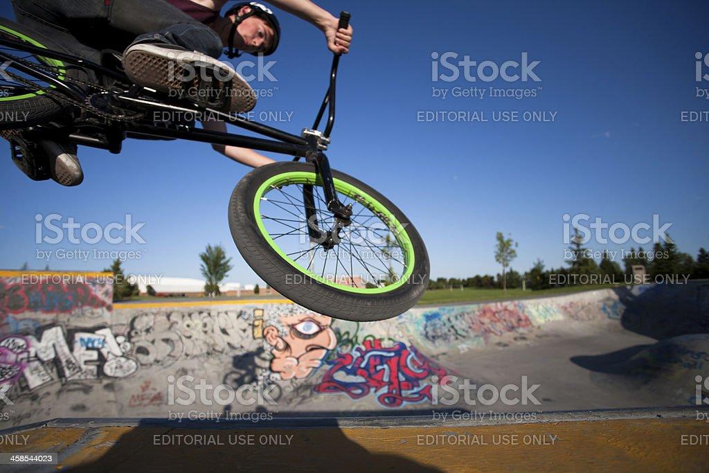 BMX at a skate park royalty-free stock photo