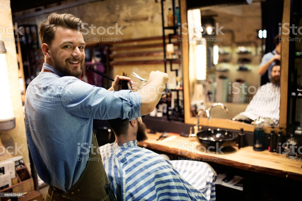 At barber shop - fotografia de stock