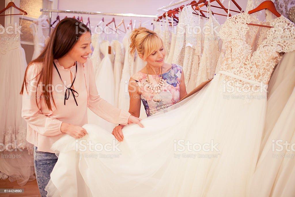 At bridal shop stock photo
