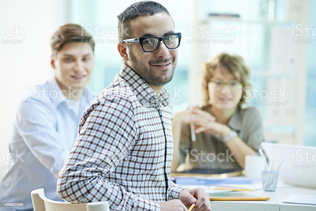 At business meeting royalty-free stock photo