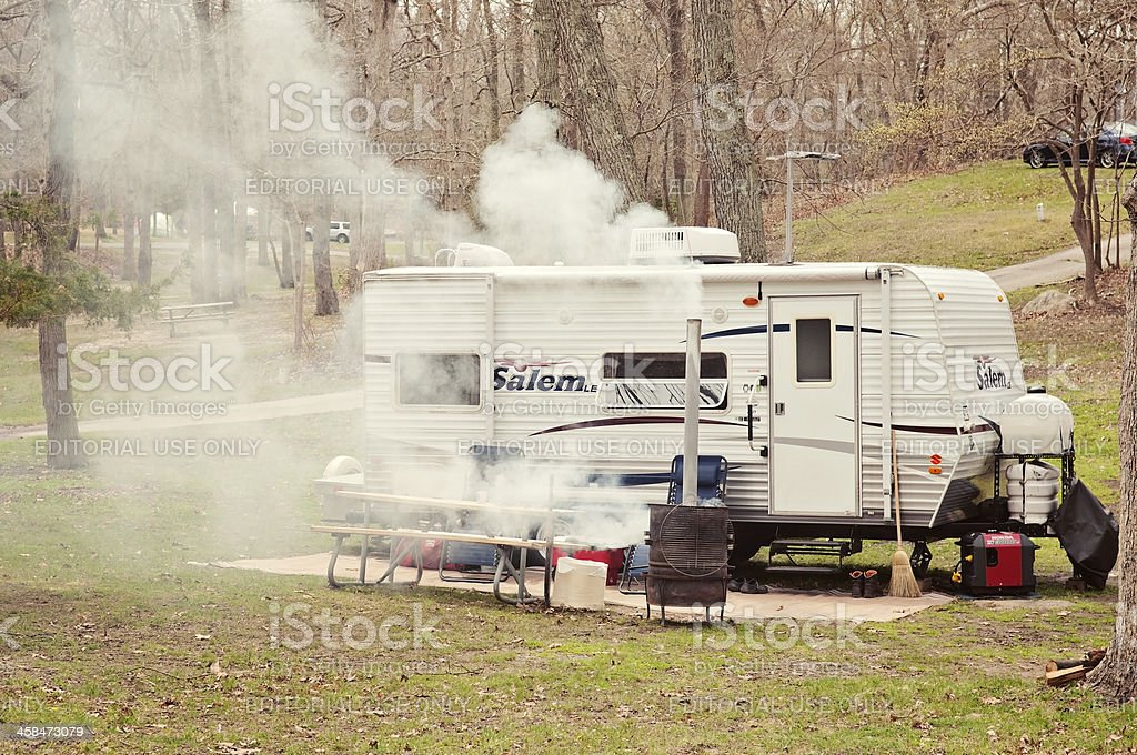 RV at Camping Cite in Long Island New York royalty-free stock photo