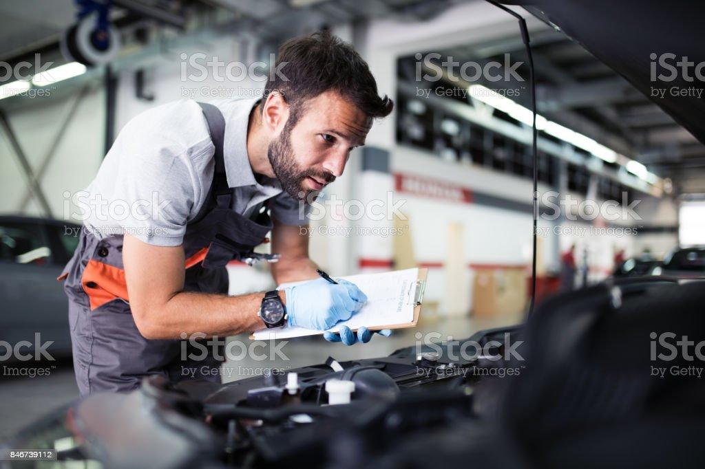 At car service stock photo