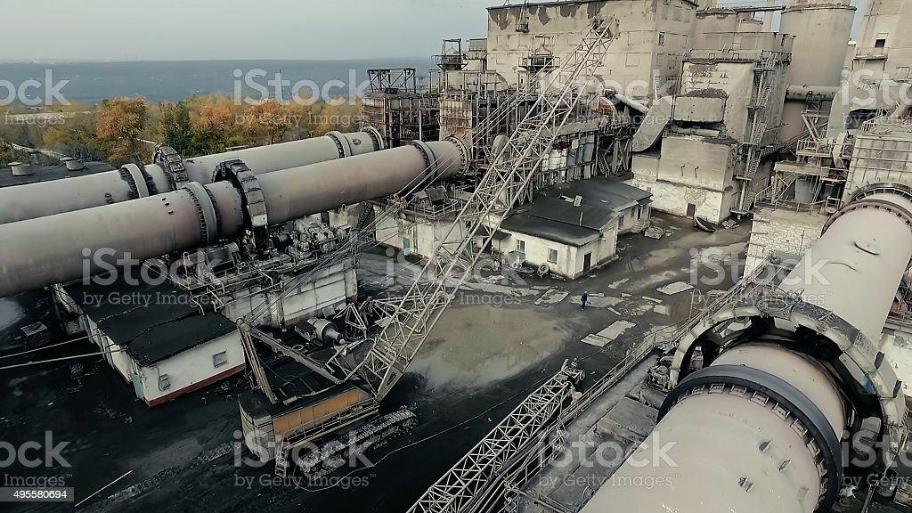 At cement factory. Rotary kiln tube stock photo