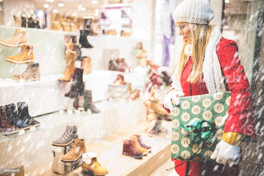 At Christmas shopping stock photo