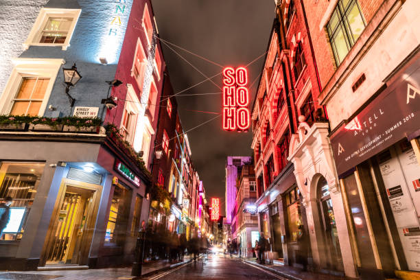 SOHO at Christmas time - London, UK London / United Kingdom - Nov 25 2018: SOHO at Christmas time carnaby street stock pictures, royalty-free photos & images