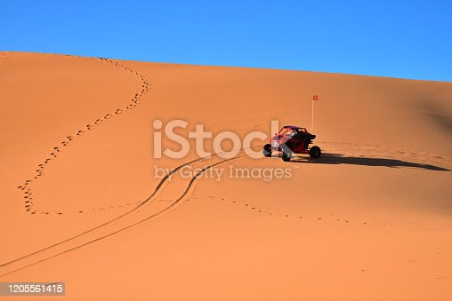 Wind, feet and vehicles have formed patterns in the sand at Coral Pink Sand Dunes State Park, Utah.