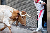 Pamplona, Spain - July 8, 2013: Unidentified men run from bulls in street Estafeta during San Fermin festival in Pamplona.
