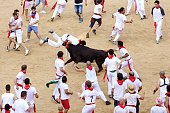 Pamplona, Spain - July 9, 2013: People await start of race of bulls at San Fermin festival. Navarra