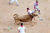 Pamplona, Spain - July 8, 2013: People await start of race of bulls at San Fermin festival. Navarra
