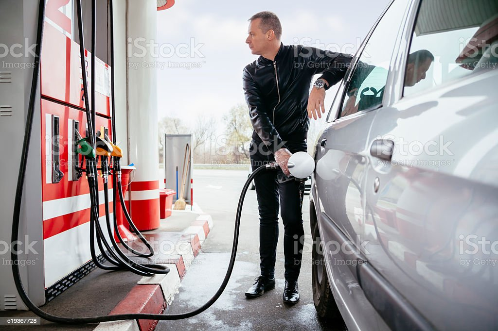At Gas Station royalty-free stock photo