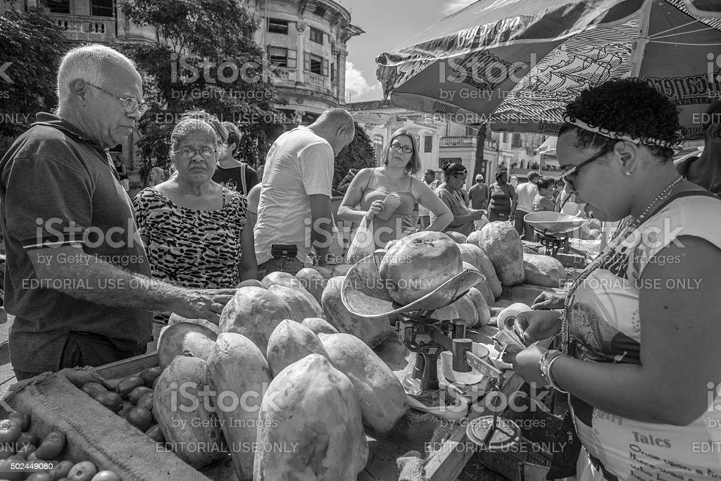 Havana, Cuba - November 7, 2015. Weekend outdoor market in suburbs of...