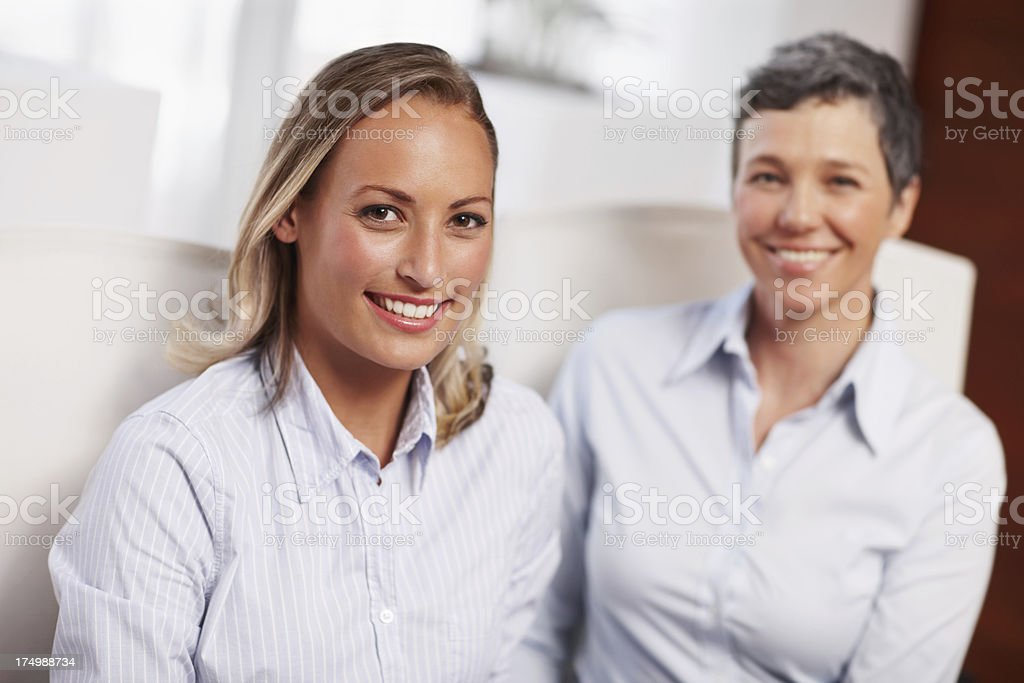 At her mentor's side royalty-free stock photo
