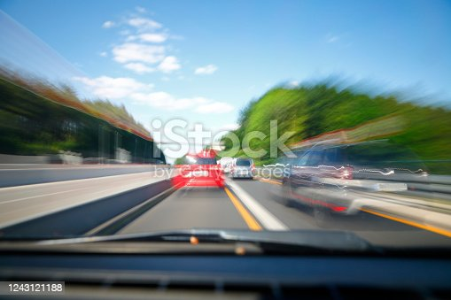 View through the windscreen on the motorway at high speed