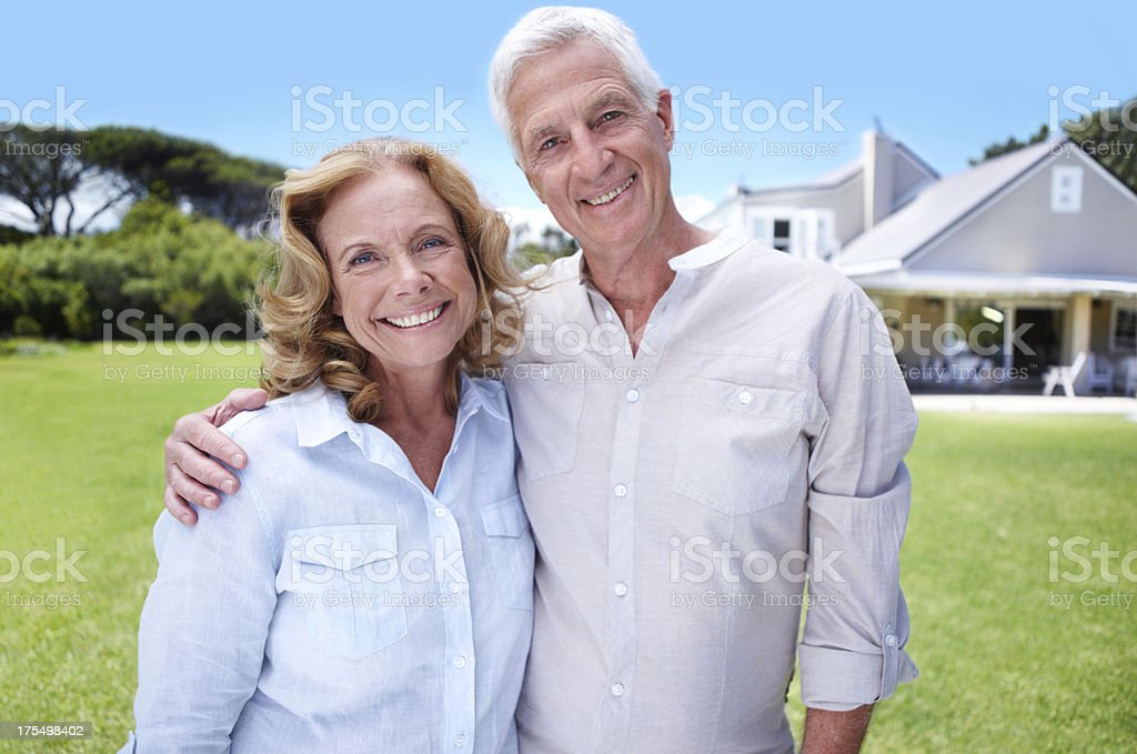 At home in their garden royalty-free stock photo