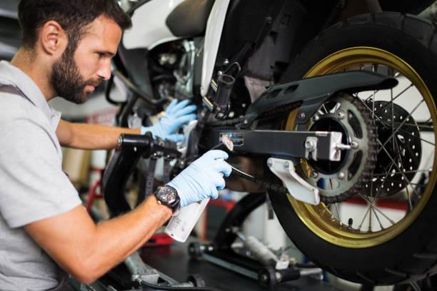 At motorcycle servicess stock photo
