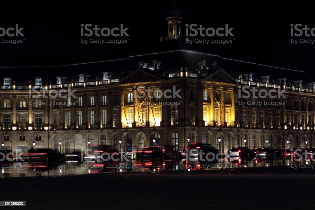 At night, Bordeaux in France stock photo