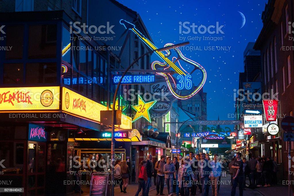 At night on the Reeperbahn stock photo