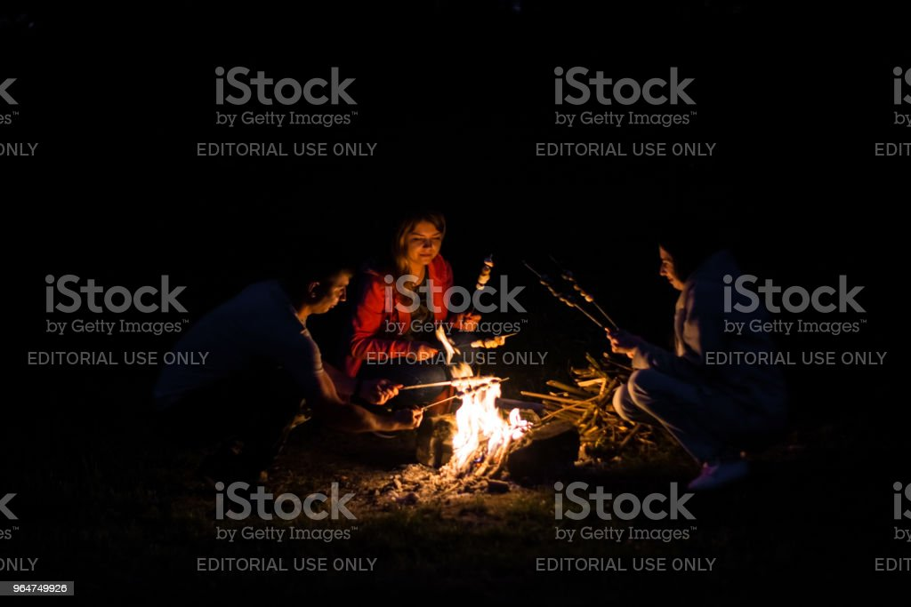 at night three young friends fry marshmallow at the stake royalty-free stock photo
